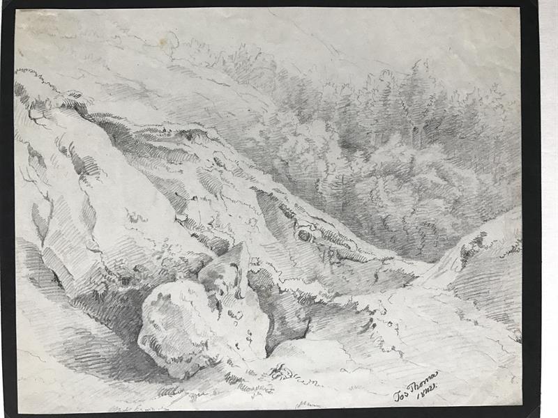 Josef Thoma 1842 Kresba Tuzkou Horska Krajina Eantik Starozitnosti
